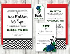 This beautiful wedding invitation set was inspired by Twin Peaks and is a perfect mix of fandom and elegance. The invitation and coordinating items will be customized for you with your wedding information. Choose blue roses for true fandom or pick red roses for a classic