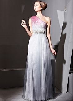18eb690fb054 In Stock Elegant Malay Satin   transparent net A-line One Shoulder Neckline  Floor-length Evening Dress With Beads