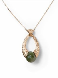 long gold necklace w/ green stone pendant, on sale $15.99