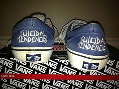 7afd968cde2bcb Rare Custom Vans Era Sk8-Hi SUICIDAL TENDENCIES Navy Blue Skateboard Shoes  Men s