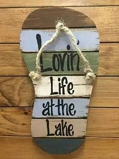 FLIP FLOP Sign Reclaimed Wall Pallet Lovin Life at the lake / in Flip Flops Beach Wood Rustic Sandal Plaque 13 X 7 Vertical Nautical Wooden Sign with Twine Blue Green Brown White Pallet Crafts, Pallet Art, Wooden Crafts, Rustic Signs, Wooden Signs, Rustic Art, Lake Signs, Lake House Signs, Cottage Signs