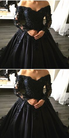 dresses black ball gown Prom Dress Plus Size, Prom Dress, Sexy Prom Dresses, Long Formal Evening Dress Briarpatch Bridal Quince Dresses, Ball Dresses, Bridal Dresses, Prom Dresses, Black Quinceanera Dresses, Dress Prom, Black Wedding Gowns, Gothic Wedding, Black Ball Gowns