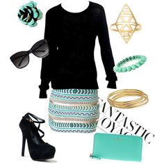 """""""Black and mint outfit"""" by laurennh34 on Polyvore"""