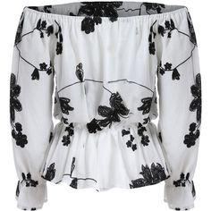 SheIn(sheinside) White Black Off the Shoulder Floral Blouse ($12) ❤ liked on Polyvore featuring tops, blouses, floral blouses, white and black blouse, long sleeve peplum blouse, off-the-shoulder tops and floral peplum top