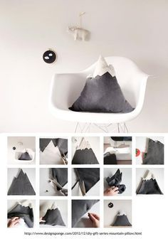 DIY mountain pillow - might also be done with inexpensive (square) grey pillow rather than from scratch.
