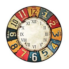 Clock Craft, Clock Decor, Wall Clock Face, Clock Faces, Clock Face Printable, Apple Watch Wallpaper, Vintage Labels, Vintage Ephemera, Kids Room Paint