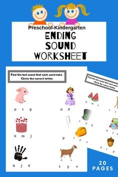 Try out ending sound worksheet today! Teaching Phonics, Preschool Kindergarten, Teacher Newsletter, Teacher Pay Teachers, Grade 1, Worksheets, Homeschool, Printables, Lettering