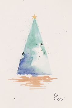 Painted Christmas Cards, Christmas Tree Drawing, Watercolor Christmas Cards, Homemade Christmas Cards, Christmas Paintings, Watercolor Cards, Christmas Tag, Christmas Crafts, Happy Paintings