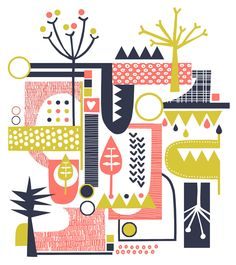 Retro Forest Lime Coral and Navy Screenprint