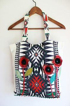 53858afce1b2 Aztec bags Red navy blue bag Flowered bags by Nazcolleccolors Handmade  Fabric Bags
