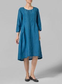 PLUS Clothing - Linen Empire Waist Midi Dress