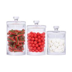Store candy, sweet treats and lots more in this handy candy jar set. Glass Candy Jars, Laundry Solutions, Saved Items, 3 Piece, Sweet Treats, Cleaning, Christmas, Xmas, Food