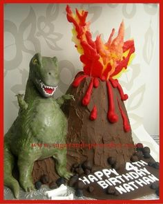 Tyrone T-REX Cake with Erupting Volcano  Cake by MelSugarMama this is awesome!