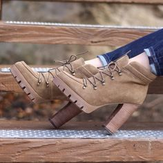 Tan Lug Sole Booties Faux suede. Worn twice. Basically brand new. Lace up. Report Signature Shoes Ankle Boots & Booties