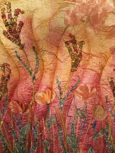 Dyed and embroidered silk by Mary Murphy