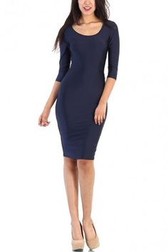 Solid Rayon Long Sleeve Body Fit Dress - Navy
