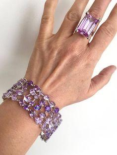 Vintage Multi Gemstone Amethyst Estate Bracelet Purple Stone