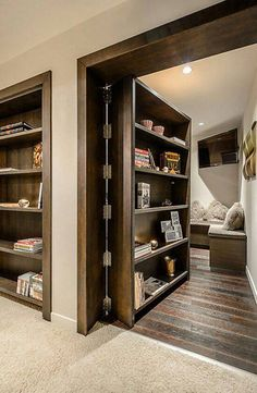 31 Insanely Clever Remodeling Ideas For Your New Home Would absolutely add secret rooms & one safe room with same hidden idea.one would be mine, all mine.to just hide & read! Safe Room, Home Fashion, My Dream Home, Dream Homes, Style At Home, Home Projects, Led Projects, Future House, Home Goods