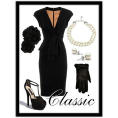 Classic Black and Pearls - but without the cleavage!