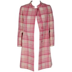 Pre-owned 1960's George Halley Light-Pink & Ivory-White Plaid Wool... (15.561.140 IDR) ❤ liked on Polyvore featuring outerwear, coats, coats and outerwear, draped wool coat, woolen coat, white coat, white woolen coat and vintage wool coat