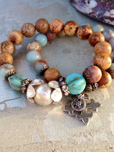 Rustic Jasper Stretch Bracelet SetPewter by CountryChicCharms, $72.00
