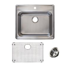 Franke Evolution All In One Drop In Stainless Steel 25 In. 1 Hole Single  Bowl Kitchen Sink Kit In Satin, Silver/Satin