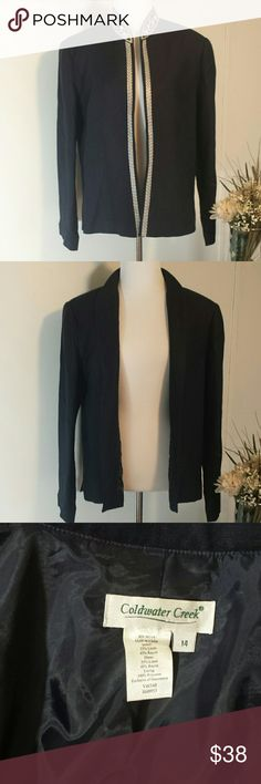 CWC  Pretty Navy Jacket Beautiful navy jacket with white floral embellishments.   Lined lightweight and has thin shoulder oads. Coldwater Creek Jackets & Coats Blazers