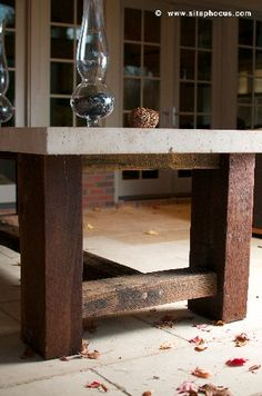 concrete and barn beams table