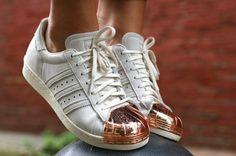 adidas white metallic shoes