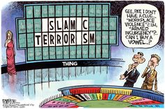 Rick McKee - The Augusta Chronicle - Wheel Of Terror - Wheel of Fortune, Obama, Islamic terrorism Gee, Pat, I don't have a clue. Workplace violence?