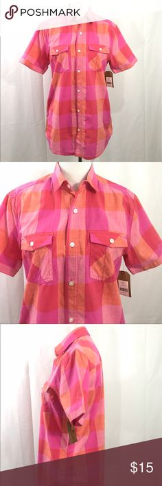 NWT Red Camel Pink and Coral Cotton  Plaid Shirt M EUC pink and Coral Plaid Button Down Short Sleeved Shirt. Size M Bust 42 Length 30 Red Camel Tops Button Down Shirts
