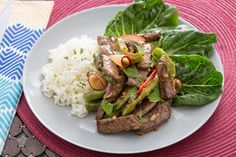 Vietnamese-Style Beef with Lime-Jasmine Rice & Dressed Plum