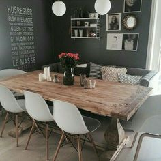 What about this stunning diningroom! Credit: What about this stunning diningroom! Credit: What about this stunning diningroom! Credit: What about this stunning diningroom! Dining Room Design, Dining Area, Dining Rooms, Sofa Dining Table, Dinner Room, Home And Living, Small Living, Home Fashion, Home Kitchens