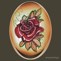 red tattoo rose shirt.