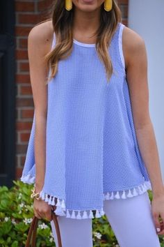 Tassel Time Tank Classic, textured seersucker and sweet tassels are a match made in fashion heaven! Preppy Outfits, Preppy Style, Cute Outfits, Preppy Fashion, Fashion Fashion, Fashion Online, Fashion Outfits, Fashion Trends, Spring Summer Fashion