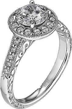 Scott Kay Vintage Collection Engagement Ring with Engraving and Milgrain Detail M1227RD10