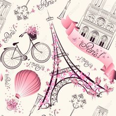Illustration of Paris symbols seamless pattern. Romantic travel in Paris. Vector vector art, clipart and stock vectors. From Paris With Love, I Love Paris, Paris Style, Pink Paris, Illustration Parisienne, Paris Kunst, Art Parisien, Image Paris, Paris Wallpaper