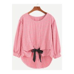 SheIn(sheinside) Gingham Plaid Bow Tie High Low Blouse (46 MYR) ❤ liked on Polyvore featuring tops, blouses, red, red gingham blouse, embellished blouse, red blouse, red long sleeve top and red plaid blouse