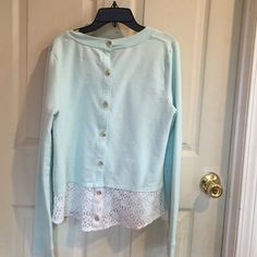 """Anthropologie Lace-Back Sweatshirt By Saturday Sunday.  Cotton/polyester/spandex. Mint green; long sleeves; button back; lace at the bottom of the back. Bust is about 19"""" flat; length is about 23"""" from the shoulder seam. This has been worn and loved; it has some pilling and a few faint marks. Anthropologie Tops"""