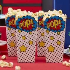 Comic superhero party popcorn boxes are perfect for either a childrens superhero party or birthday celebration. Use these fun popcorn boxes to display food for your hungry guests! Each pack contains eight POP wording popcorn boxes. Spider Man Party, Fête Spider Man, Avengers Birthday, Superhero Birthday Party, 6th Birthday Parties, Boy Birthday, Super Hero Birthday, Superhero Treats, Superhero Party Favors