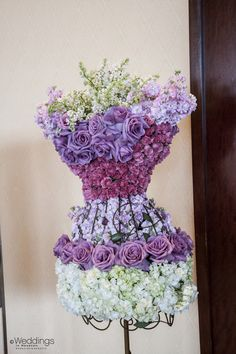 Shades of Purple and Pale Green Flower Arrangement Inspiration. #Wedding #Beauty #Style Visit Beauty.com for all your beauty needs.