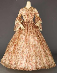 SILK PRINTED AFTERNOON DRESS, 1850s