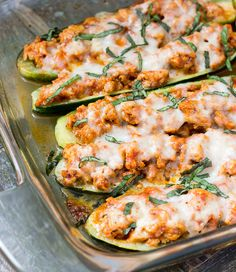 Chicken Parmesan Zucchini Boats - A healthy low carb, high protein dinner recipe that will leave you feeling satisfied.