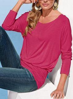 Women's Casual Loose Fitting Shirt - Boat Neckline / Gypsy Hemline