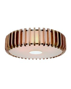 "19 2/3"" Modern Glass Shade Flush Mount with Natural Wooden Yellow Drum Frame"