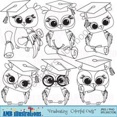 Graduating Owl stamps clipart set 367 from Bestteachertools on TeachersNotebook.com -  (7 pages)  - Graduating owls with graduating caps and diplomas in black and white - ready to color!