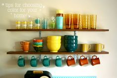 display them on open shelving, as shown by A Beautiful Mess.