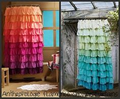 oh my goodness! DIY anthro shower curtains. i've been eyeing the teal/green one for awhile now. might as well make it :)