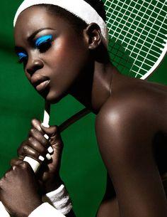 brilliant blue on ebony skin - flawless blending