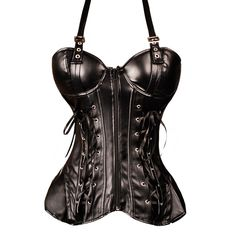 A gorgeous black corset with faux leather and suede effect . The acrylic bones make this corset easier to move in than a full steel boned corset, but still have a gentle shaping effect. This stunning corset top with metal details and chunky silver buckles has a strong gothic look.